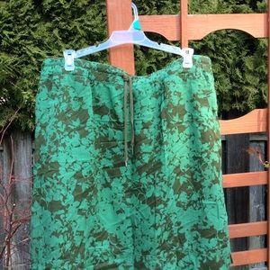 Eddie Bauer skirt green comfort drawstring waist